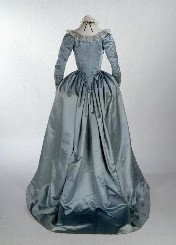 Robe à l'anglaise, consisting of cloak-style redingote and skirt, light blue silk satin...circa 1785-1795
