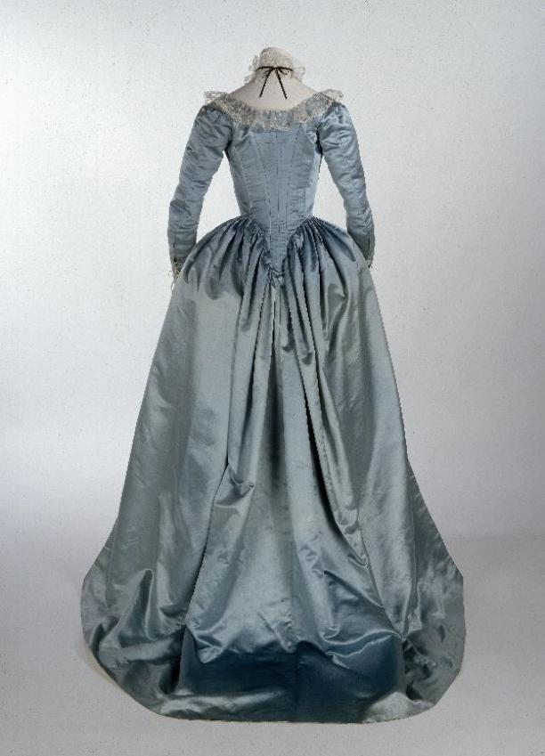 Robe à l'anglaise, consisting of cloak-style redingote and skirt, light blue silk satin...circa 1785-1795