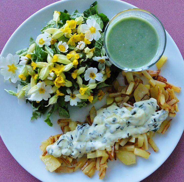 Recette d'une salade de fleurs, soupe aux orties et pommes de Terre à l'ail des ours, déposée sur le site de Cuisine sauvage.org, site dédié à la cuisine des plantes sauvages comestibles