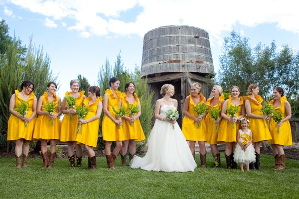 cute, if i were country: Cowgirl Boots, Yellow Dresses, Country Wedding, Bridal Parties, Cowboys Boots, The Dresses, My Wedding, Bright Colors, Yellow Bridesmaid Dresses