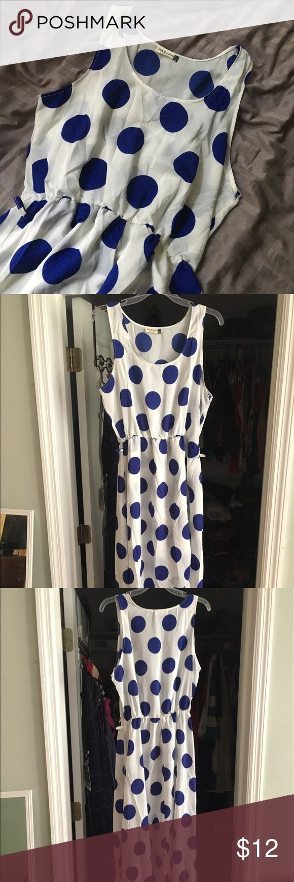 NWOT Blue Polka-Dot Wrap Flowy Maxi Dress M Never worn super cute flowy polka dot dress! I have it in teal and hot pink and for some reason I always wear the teal one! Looks super cute with cowboy boots and a small belt (has loops). I bought the teal and loved it to much I bought this one and the pink (listed) brand new as well! Stretchy waistband - if you like slouchy like me it fits a Small if you want it a little more form flattering it's great for M! Would be cute with a red skinny belt…