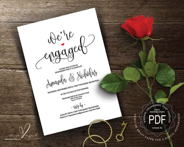 Engagement Invitation PDF card template, instant download printable, editable announcement card, we're engaged in rustic theme (TED334_D2) by TeeshaDerrick on Etsy