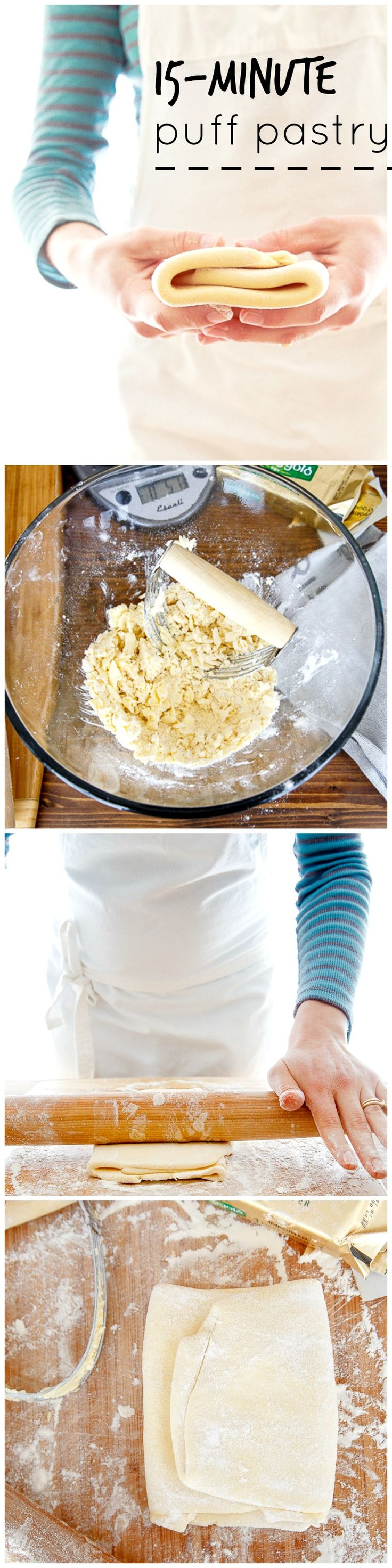 Quick and easy homemade puff pastry. Step by step photos.