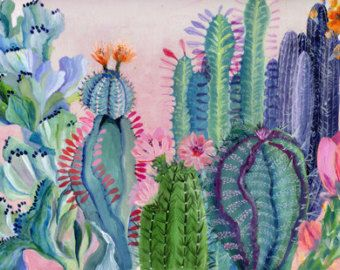 Pink tiled backyard illustration giclee print by artandpeople