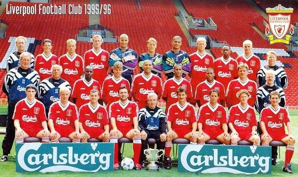 1995-1996,Back row: Doug Livermore (Coach), Lee Jones, Rob Jones, John Scales, David James, Michael Stensgaard, Tony Warner, Mark Wright, Mark Walters, Dominic Matteo, Sammy Lee (Coach).Middle row: Joe Corrigan (Goalkeeping coach), Ronnie Moran (Coach), Michael Thomas, Stig Inge Bjørnebye, Stan Collymore, Phil Babb, John Barnes, Jan Mølby. Front row: Mark Kennedy, Robbie Fowler, Steve Harkness, Neil Ruddock, Roy Evans, Ian Rush, Jamie Redknapp, Steve McManaman, Nigel Clough.
