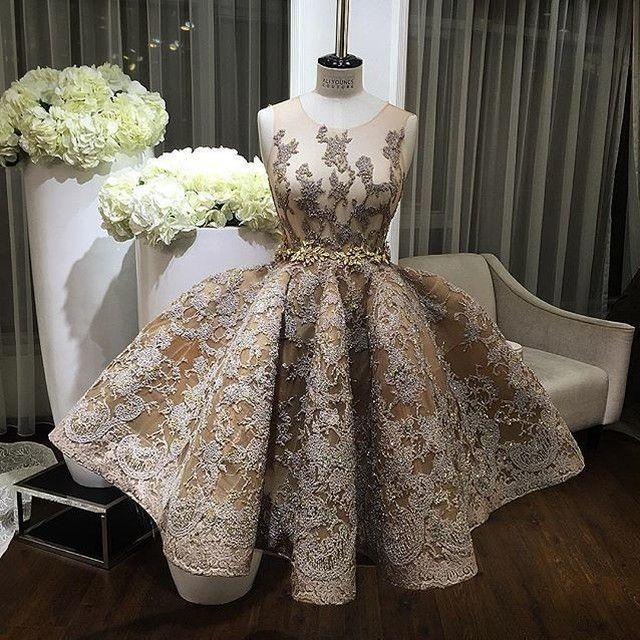 Homecoming Dress,Sexy Stunning Jewel Sleeveless Knee-Length Gold Homecoming