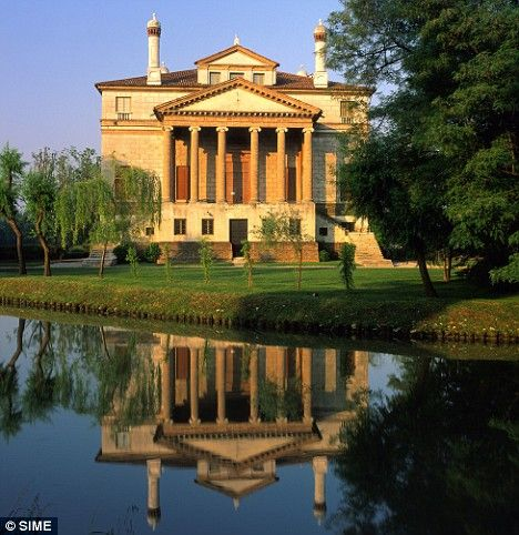 """Italian Architecture - Villa Veneta """"La Malcontenta"""" - riviera del brenta - Italy  """"In Belmont is a lady richly left; And she is fair, and, fairer than that word, Of wondrous virtues: sometimes from her eyes I did receive fair speechless messages: Her name is Portia. -Bassanio, The Merchant of Venice"""