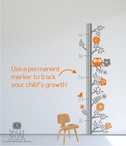 Growth Chart Wall Decal - nature themed and color customization available. Perfect for Stella who always wants to know just how big she is now. $52