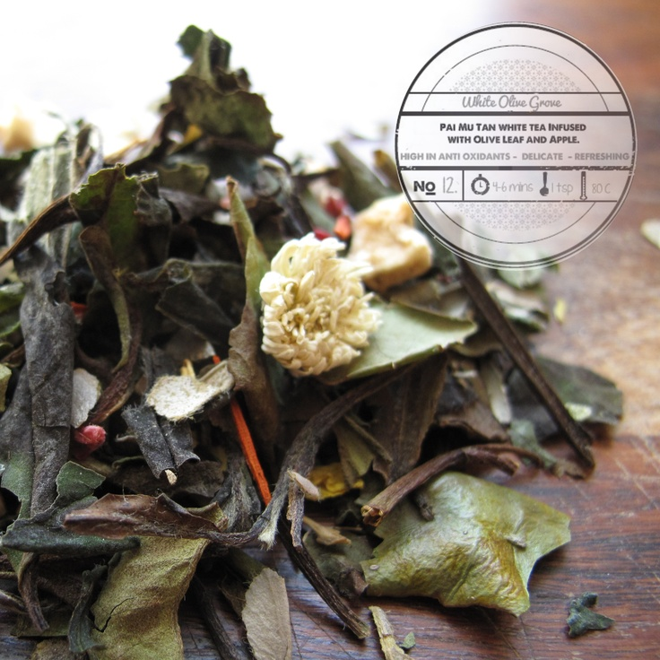 White Olive Grove by T totaler:  Pai Mu Tan White Tea Infused with Olive Leaf and Apple.