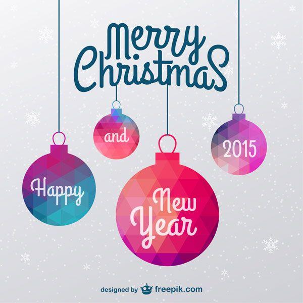 ポリゴン風のクリスマスボールをデザインしたクリスマスカードテンプレート