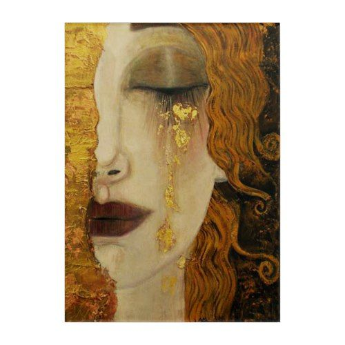 Woman with Gold Tears, Jugendstil by Klimt Acrylic Print