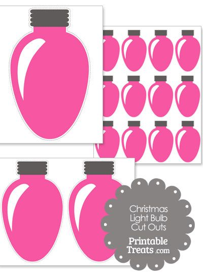 christmas light bulb clipart. pink christmas light bulb cut outs from printabletreatscom clipart t