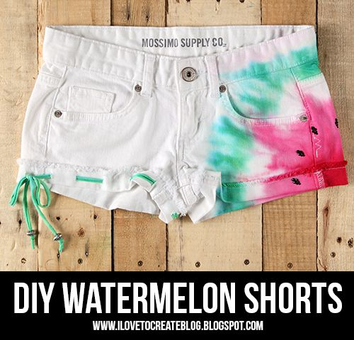 iLoveToCreate Blog // Watermelon Tie Dye Shorts DIY  Ugh, yaaasss! I have green and red fabric dye and white shorts--I must go and get black pabric paint!
