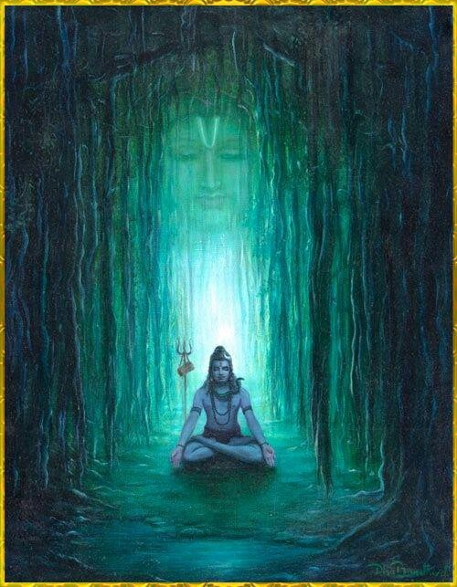 Lord shiva between tree