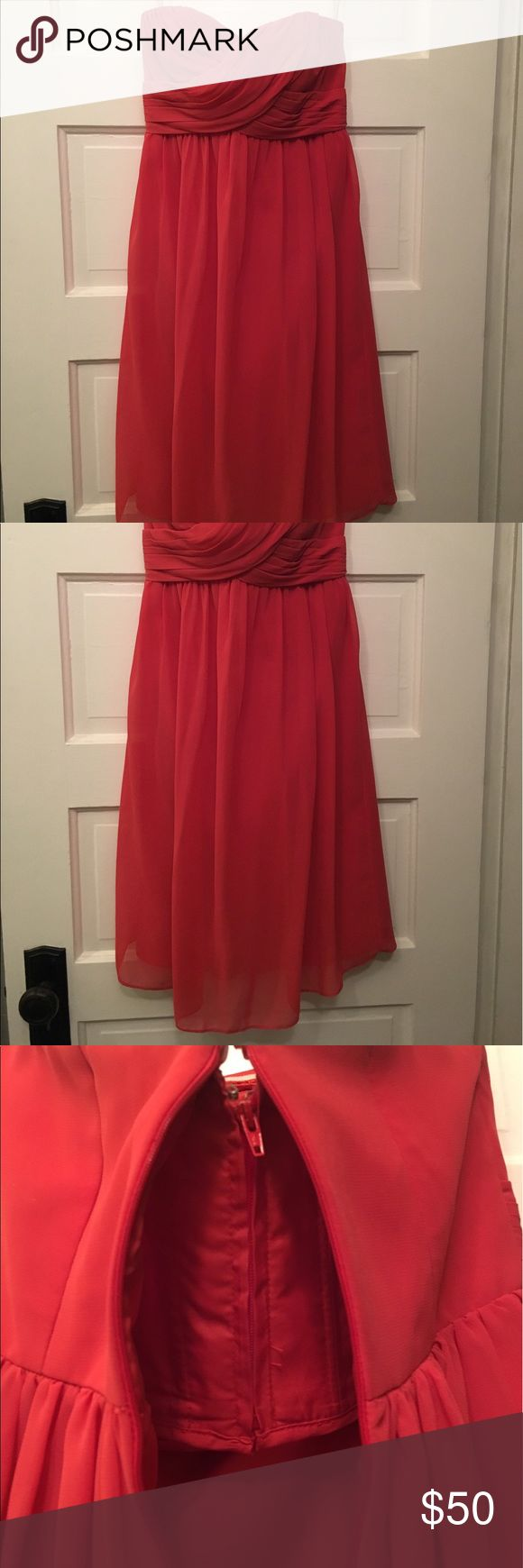 Bill Levkoff Bridesmaid Dress - Strapless Fitted at the top with a flowing, knee length skirt. Built in bra provides extra comfort and security. Worn once for a wedding. The color is Persimmon on the color chart for Bill Levkoff. Bill Levkoff Dresses Wedding