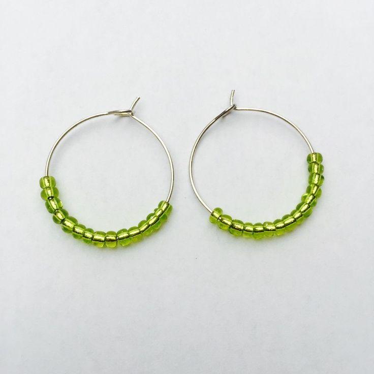 Lime Green Seed Bead Silver Hoop Earrings , Boho, Beach ,Festival Earrings | eBay