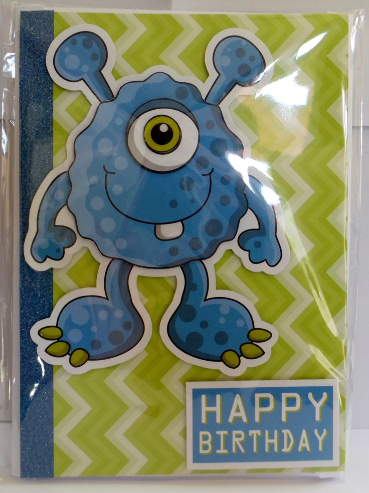 A5 3D monster with glossy eye, claws and tooth with hand made envelope