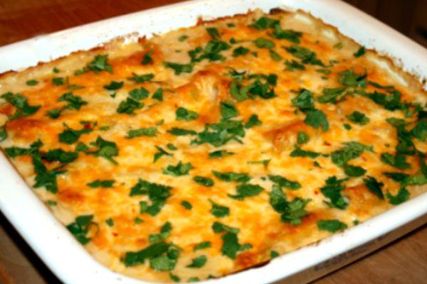 Chicken Enchiladas With Green Chile White Sauce #glutenfree #recipe from @FoxKitchen