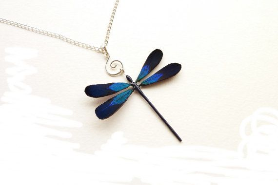 Dragonfly necklace, Dragonfly jewelry, Dragonfly, Unique handmade dragonfly with silver spiral, Silver blue real feather dragonfly necklace on Etsy, $37.00