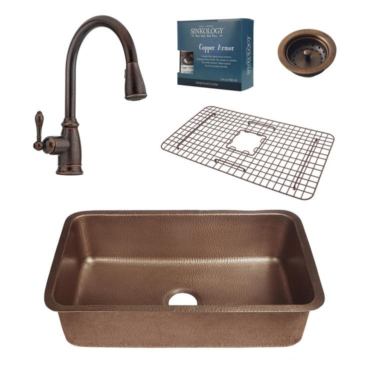 Pfister All-In-One Orwell 30 in. Undermount Copper Kitchen Sink Design Kit with Rustic Bronze Pull Down Faucet, Antique Copper