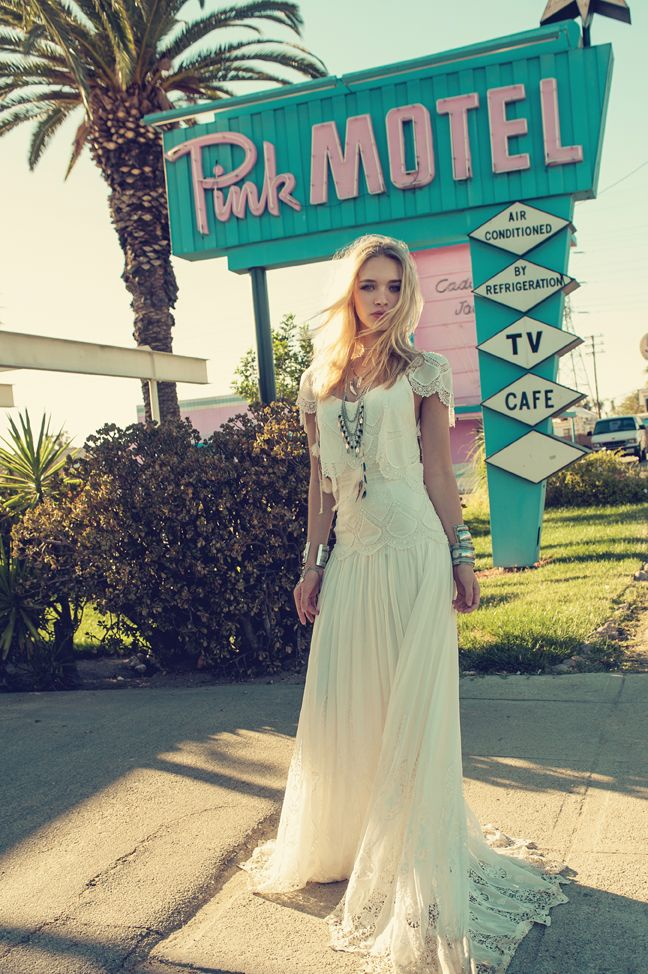Rue De Seine LA desert campaign. Eve Gown from the Young Love Collection