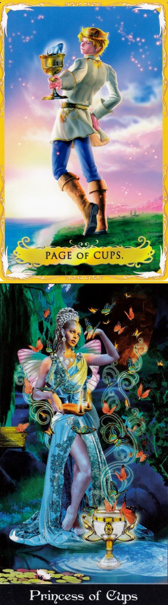 Page of Cups: intuition and leaving reality for fantasy (reverse). Alchemia Tarot deck and Apokalypsis Tarot deck: free tarot card reading for today, tarot78 doors vs horoscope tarot cards. New halloween decorations and wicca. #pentagram #pods #iosgame #android #highpriestess #iosapp