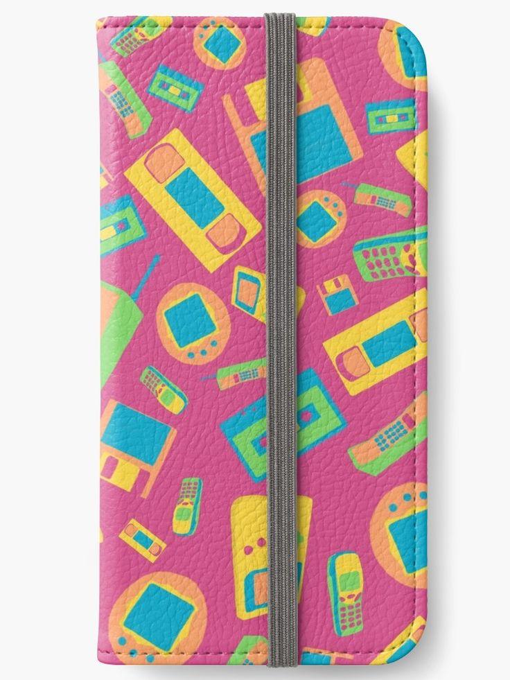 """90s Technology Pattern"" iPhone Wallets by ShiyaDigital   Redbubble"