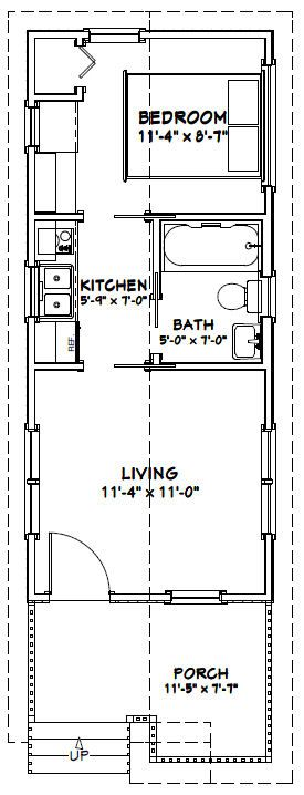 12x28 1 Bedroom House -- #12X28H1C -- 336 sq ft - Excellent Floor Plans