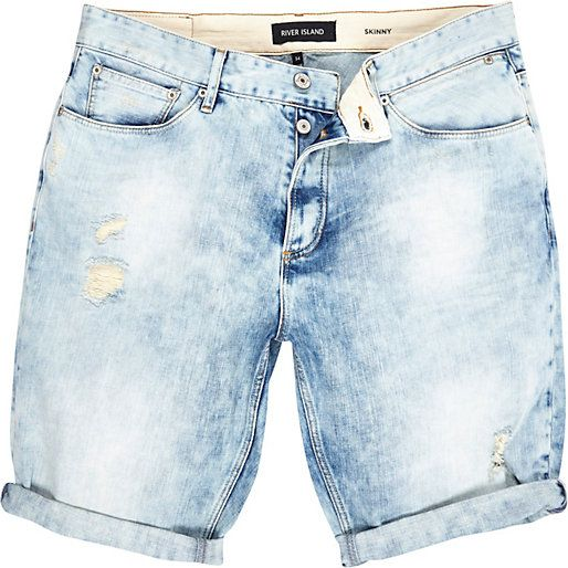 Light wash skinny ripped denim shorts riverisland rimenswear