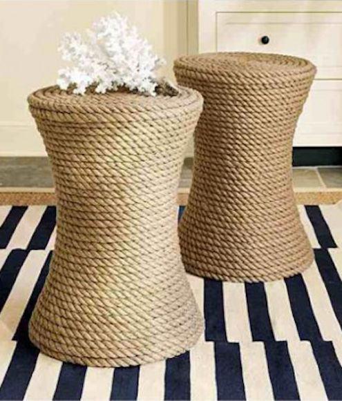 banquinhos customizados com corda de sisal