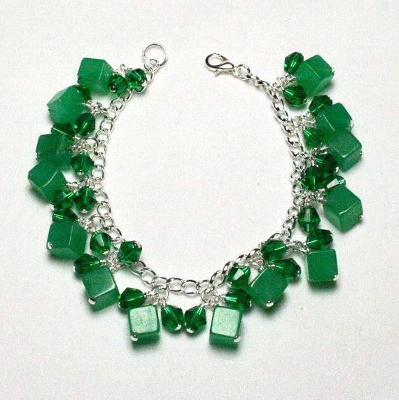 Green Cube Charm Bracelet, Malaysian Jade Charm Bracelet, Green Crystal Charm Bracelet, Women's Jewelry, Accessories, Teen Jewelry,
