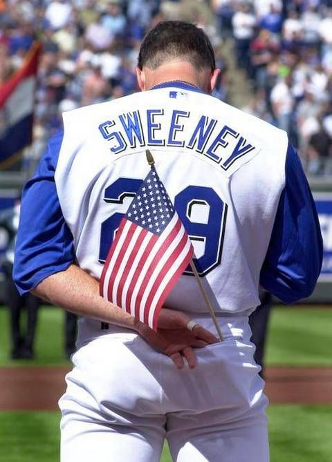 FILE The Royals Mike Sweeney Held An American Flag In His Back Pocket During