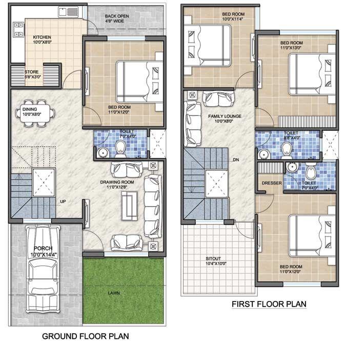 100 Gaj Ghar Ka Naksha Duplex House Design 2bhk House
