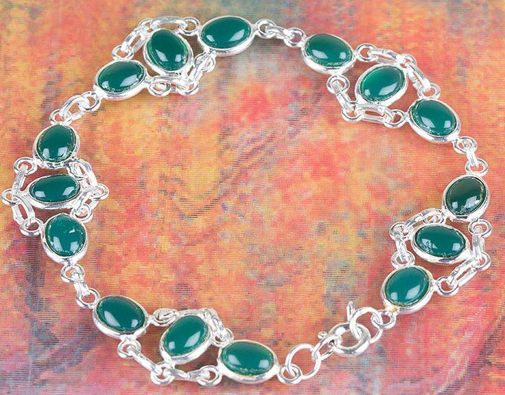 Onyx Jewellery – Lovely Green Onyx Silver Bracelet BJB-118-GO – a unique product…