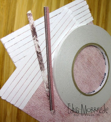 DIY Washi Tape tutorial by Edna, using X-Press It Double Sided Tape and FabScraps paper