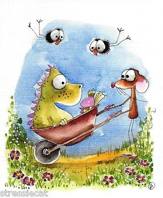Original-watercolor-painting-art-illustration-mouse-dragon-crow-wheelbarrow