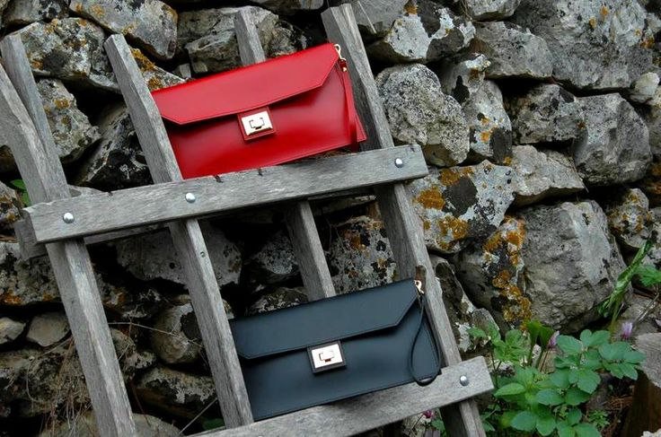 Leather chic envelopes in red & black!! #viceversa