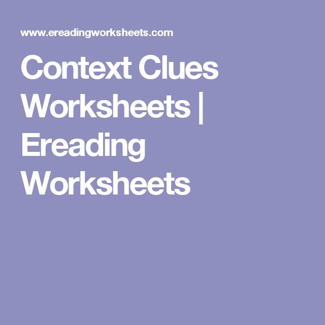 Context Clues Worksheets | Ereading Worksheets