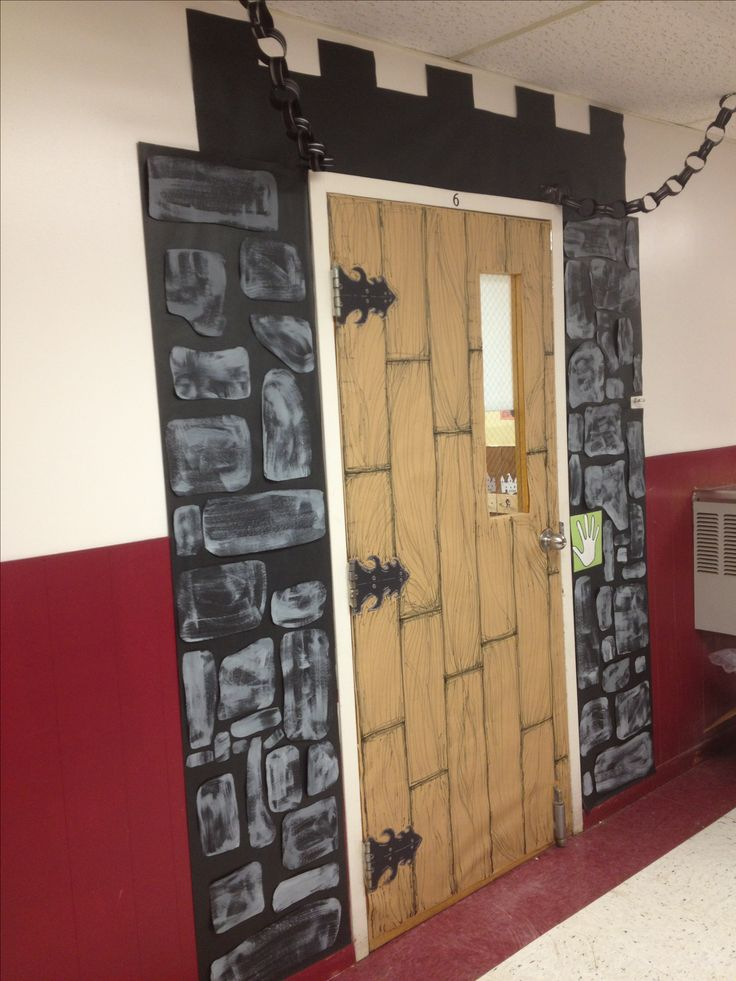 Classroom door decoration. #castle door #back to school #classroom castle theme