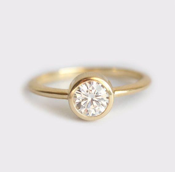Round Diamond Ring Round Solitaire Diamond ring Bezel by MinimalVS