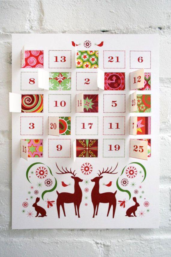 Contar los días hasta Navidad con nuestro calendario de Adviento DIY para imprimir. Abrir una puerta numerada 1-25 de diciembre para revelar un patrón de unas muy felices vacaciones. Este conjunto incluye las direcciones de construcción, un pdf de la capa superior y un pdf de la capa de fondo. Todo lo que necesitas hacer es imprimir, cortar, pegar y colgar.  Cómo funciona: -El PDF se enviará a usted vía Etsy -Imprimir el PDF (sugerimos usar una cartulina blanca brillante como Ultra Premium…