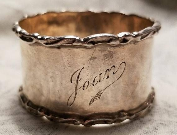 Beautiful Victorian Napkin Ring Silver with Name Hallmarked
