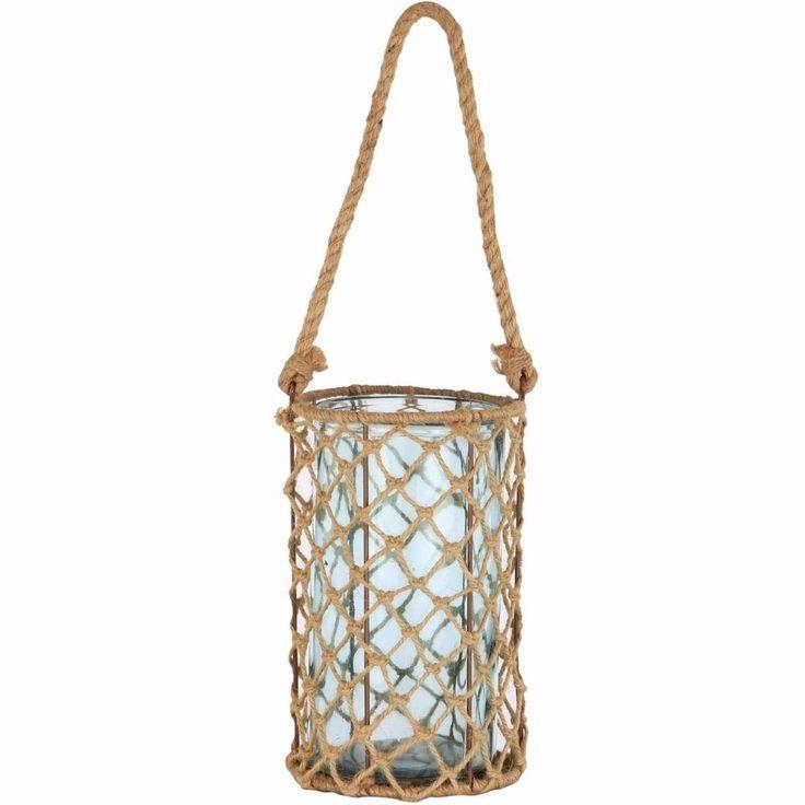 Benzara Contemporary Candle Holder With Jute & Metal Basket, Blue (jute thread 30%,metal 20%,glass50%)