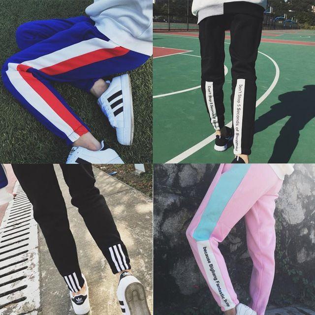 Pantalones Femme 2016 Vintage Spring Patchwork lettre pieds sarouel femmes Casual mince Sport pantalons de Jogging pantalons de survêtement