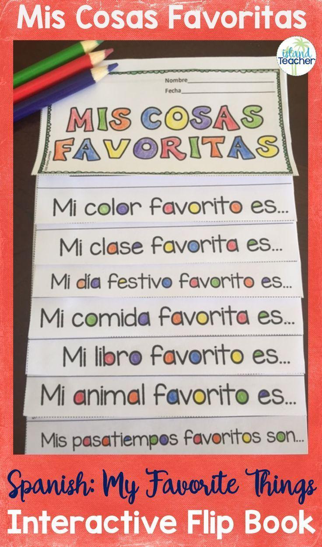 My favorite things spanish flip book spanish classroom