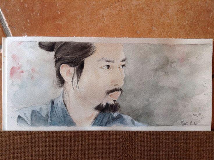 "never stray from the way.....mai allontanarsi dalla via !  ""Kendō training part 2"" watercolor on paper  #HiroyukiSanada #thelastsamurai #watercolor #art #arte #acquarello #真田広之  Hiroyuki Sanada"