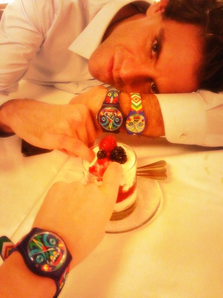 Mika in his Swatch watches
