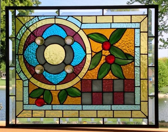 Victorian stained glass panel window hanging blue red amber