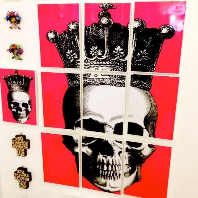 My pink Skull Mural - 9 A4 tiles x