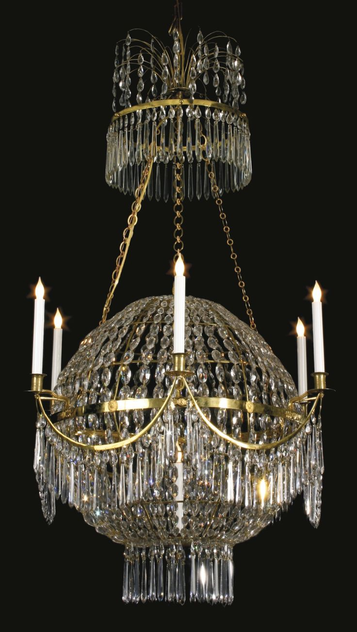 436 best crystal chandeliers mirrors images on pinterest rare swedish bronze and cut glass balloon chandelier late century arubaitofo Image collections